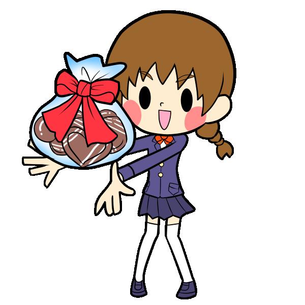 チョコを渡す女の子 その2 イラスト茶